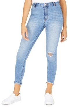 Tinseltown Juniors' Ripped Released-Hem Skinny Jeans