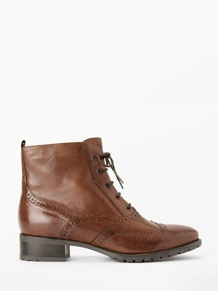 John Lewis & Partners Cambridge Lace-Up Ankle Boots, Brown Leather