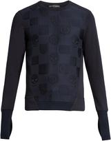 Alexander McQueen Skull and badge-jacquard cotton-jersey sweatshirt