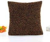 Warm Plush Solid Color Home Body Winter Pillowcases,Highpot Simpel Style Design Multiple Colour Square Plush Cover Cushion (Khaki/ B)
