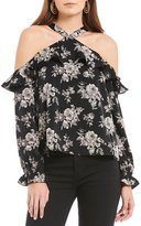 J.o.a. Printed Halter Neck Cold Shoulder Blouse