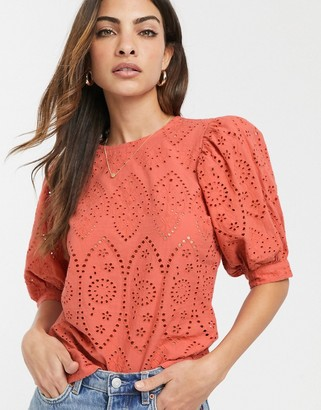 Asos Design DESIGN broderie short sleeve top with volume sleeves