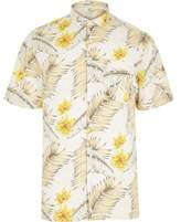 River Island Mens White Hawaiian print short sleeve shirt