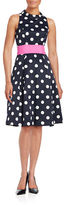 Eliza J Mockneck Polka Dot Dress