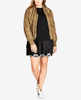 City Chic Trendy Plus Size Satin Bomber Jacket
