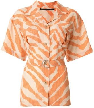 Muller of Yoshio Kubo Open Collar Zebra Print Shirt
