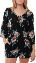 O'Neill Neri Floral-Printed Lace-Up V-Neck Romper