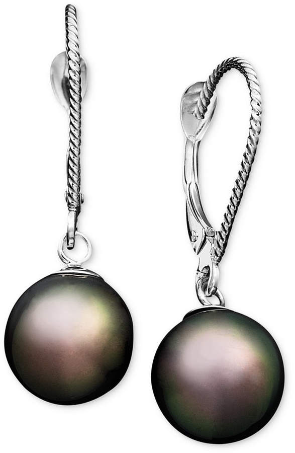 Macy's Pearl Earrings, 14k White Gold Cultured Tahitian Pearl Drop Earrings (8mm)