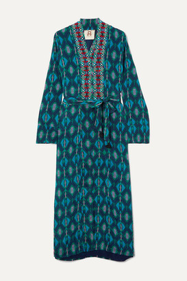 Figue Olatz Beaded Printed Crepe De Chine Coat - Turquoise