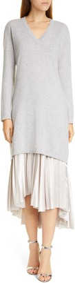 Fabiana Filippi Long Sleeve Cashmere Sweater & Satin Two-Piece Dress