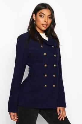 boohoo Tall Military Button Wool Look Coat