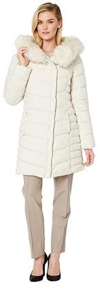Bernardo Fashions EcoPlume Faux Fur Oversize Hooded Parka (Alabaster White) Women's Jacket