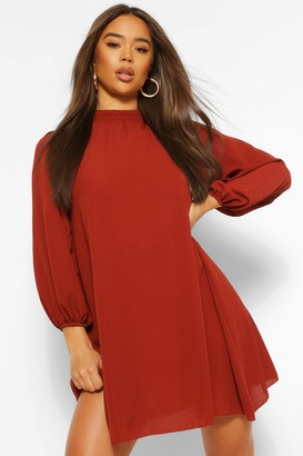 boohoo Sheered Neck Balloon Sleeve Smock Dress