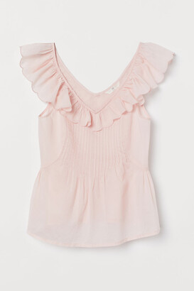 H&M Ruffle-trimmed Cotton Top - Pink