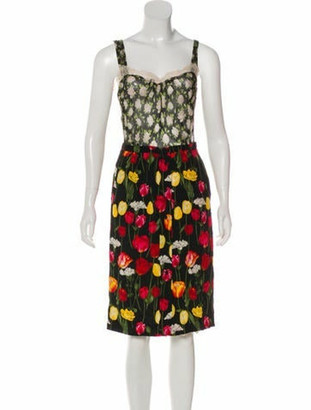 Dolce & Gabbana Floral Silk Dress Black