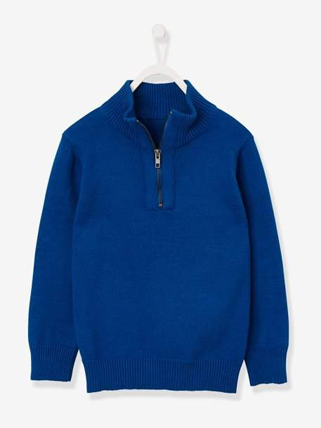Boys' Funnel Neck Jumper - blue dark solid