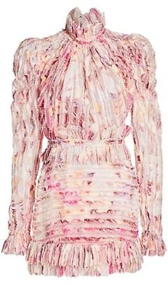 Raisa Vanessa Floral High Collar Mini Sheath Dress