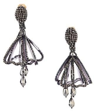 Oscar de la Renta Small Pave Impatiens Clip-On Earrings