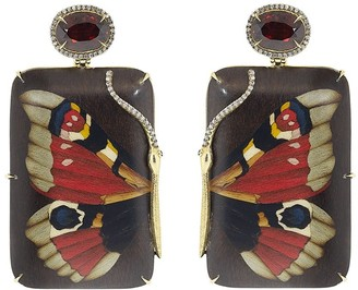 Silvia Furmanovich 18kt Yellow Gold Diamond Garnet Butterfly Drop Earrings