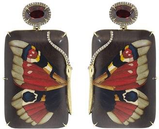 Silvia Furmanovich 18kt Yellow Gold Diamond Garnet Butterfly Drop Earrings