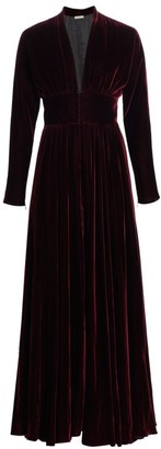 Alaia Deep V-Neck Velvet Pleated Gown