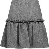 Raoul Badia velvet-trimmed ruffled wool-blend tweed mini skirt