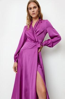 Nasty Gal Womens Steal The Spotlight Satin Dress - Purple - 12, Purple