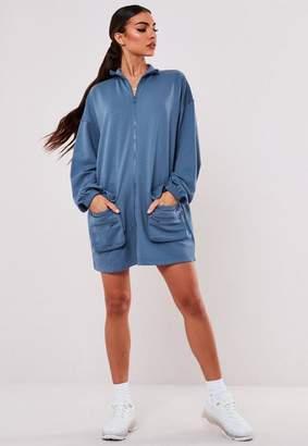 Missguided Blue Zip Through Pocket Sweater Dress
