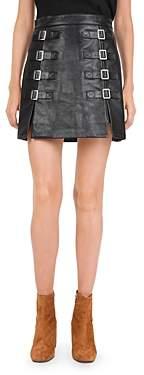 The Kooples Buckle Detail Leather Mini Skirt