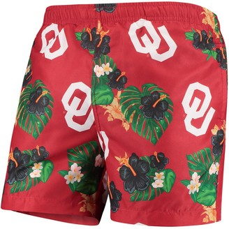 Men's Crimson Oklahoma Sooners Floral Swim Trunks