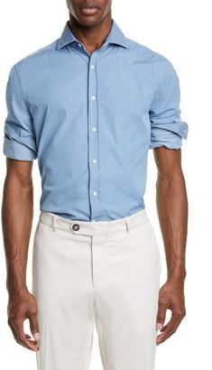 Brunello Cucinelli Slim Fit Chambray Button-Up Sport Shirt