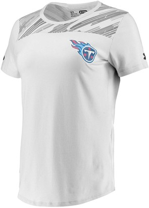 Women's Under Armour White Tennessee Titans Combine Authentic Colorblock Favorites Charged Cotton Performance T-Shirt
