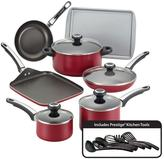 Farberware High Performance 17-Piece Red Cookware Set with Lids