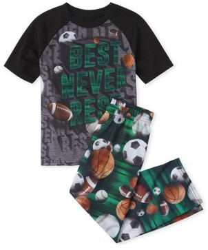 Children's Place The The Childrens Place Boys Short Sleeve Raglan 'Best Never Rest' Sports Pajama Pant Set(Little Boys and Big Boys)