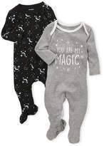 Petit Lem Newborn Girls) Two-Pack You Are My Magic Footie Set