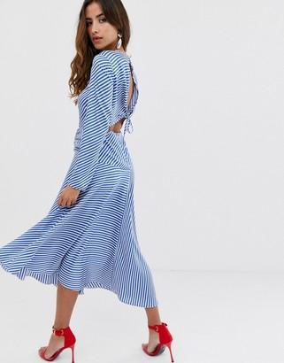 Asos Design DESIGN open back maxi dress in stripe-Multi