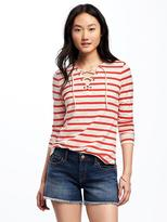 Old Navy Relaxed Lace-Up Tee for Women