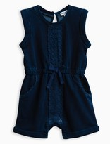 Splendid Baby Girl Indigo Brushed French Terry Romper with Lace