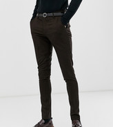 Asos Design DESIGN Tall super skinny smart trousers in black with orange pin stripe