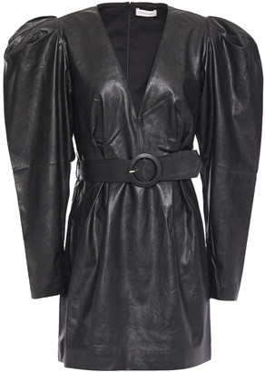 Ronny Kobo Gathered Belted Faux Leather Mini Dress