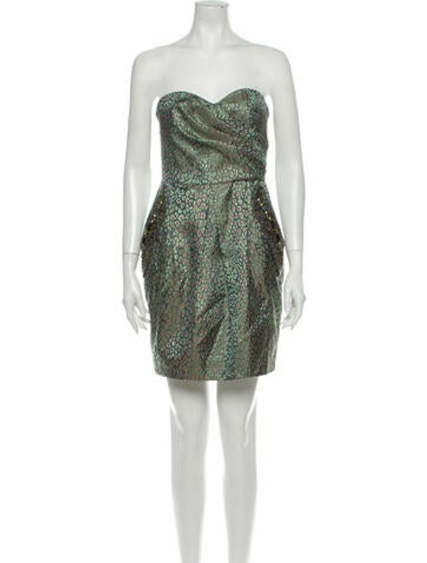 Matthew Williamson Silk Mini Dress Green