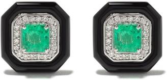 Monan 18kt White Gold Emerald Diamond Stud Earrings