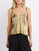 Charlotte Russe Metallic Micro Pleated Tank Top