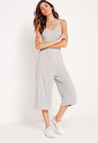 Missguided Ribbed Strappy Culottes Romper Grey