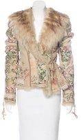 Roberto Cavalli Floral Print Shearling Coat