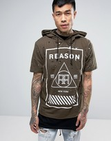 Reason Distressed Hoodie With Short Sleeves