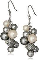 "Carolee Charcoal Pearl Basics"" Simulated Pearl Charcoal Drop Earrings"