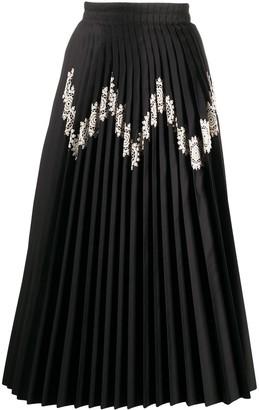 Jil Sander Chevron-Lace Pleated Satin Midi Skirt