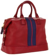 Tommy Hilfiger Top Handle Pebble Leather Satchel,Red,One Size