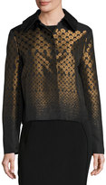 Max Studio Geometric-Print Jacquard Jacket, Black Pattern
